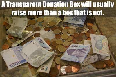 A transparent Donation Box usually receives more donations than one that is not. Learn why and more great tips for your box's success! (Photo by David Baron / Flickr)