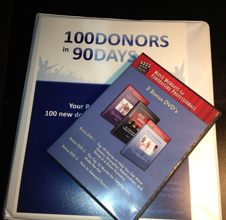 My copy of 100 Donors in 90 Days. A must have for all fundraisers and development directors.